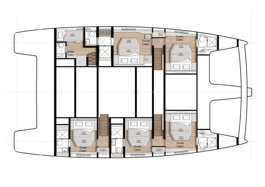 5 cabin option lower deck layout