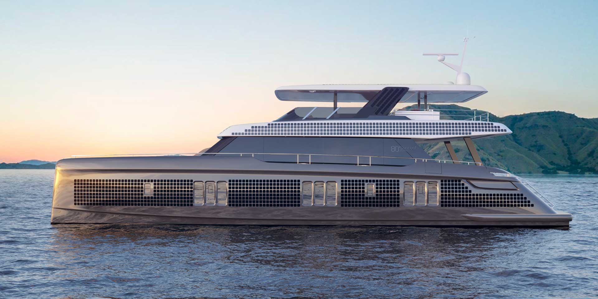 80 feet electric power catamaran - 80 Sunreef Power Eco with integrated solar panels and wind turbines.