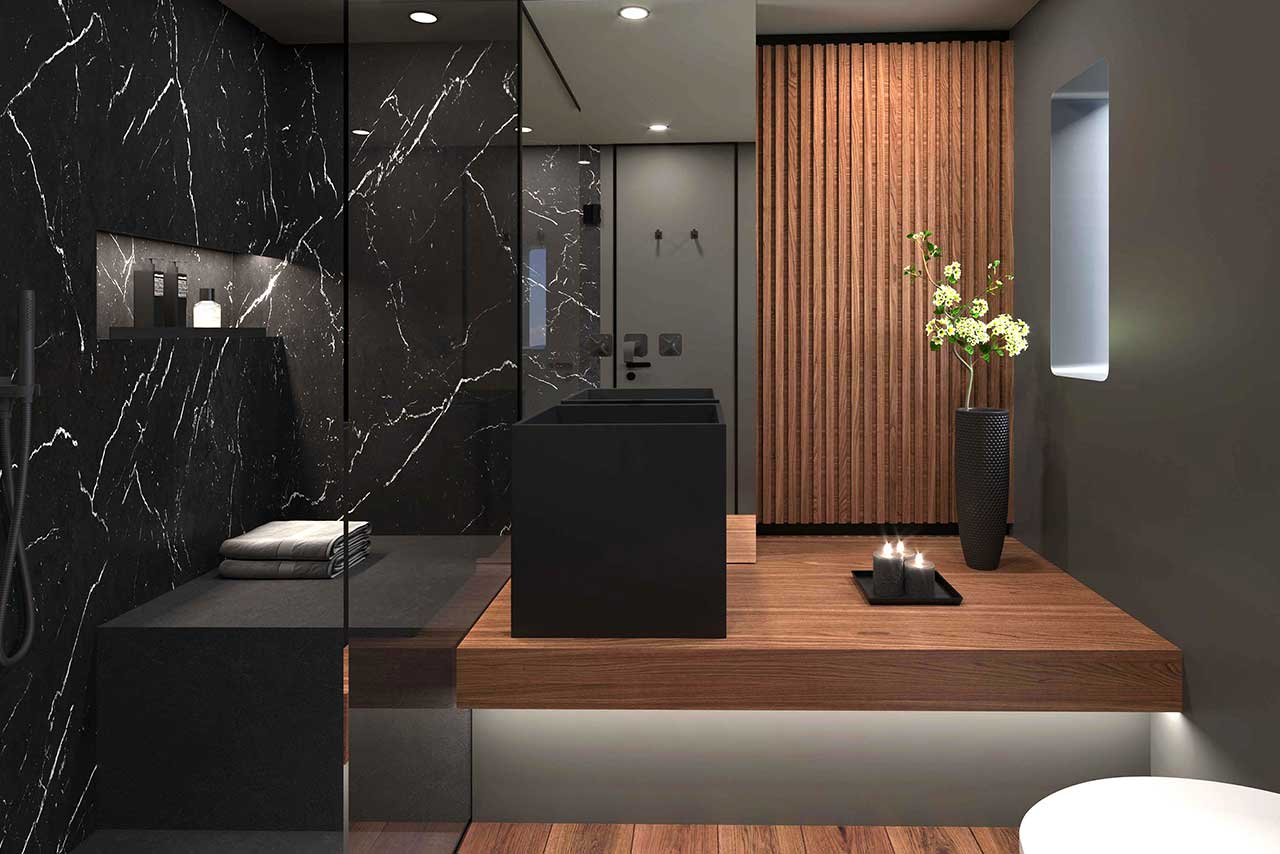 Master bathroom with black marble tiles and wooden flooring on the electric power catamaran 60 Sunreef Power Eco.