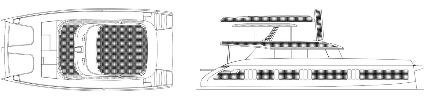 Layout of the Sunreef 80 Eco with visualization of solar panels covering the yacht's side, flybridge, bimini and a mast.