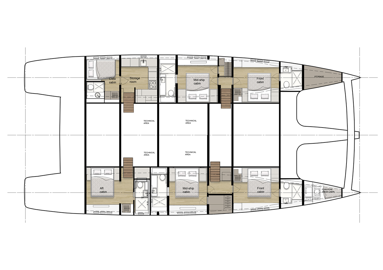 Hull layout of the electric sailing catamaran Sunreef 80 Eco including six cabins.
